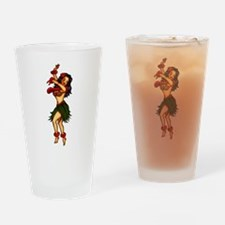 Retro Hula Tattoo Art Drinking Glass