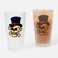 Skull In Top Hat Tattoo Art Drinking Glass