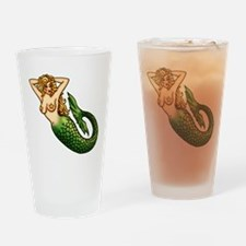 Retro Mermaid Tattoo Art Drinking Glass
