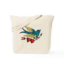 Tattoo Bird With Hearts On Arrow Tote Bag
