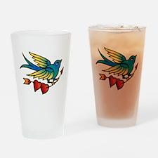Tattoo Bird With Hearts On Arrow Drinking Glass