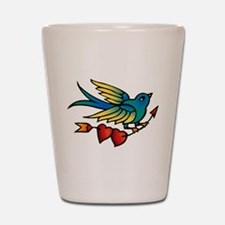 Tattoo Bird With Hearts On Arrow Shot Glass