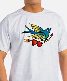 Tattoo Bird With Hearts On Arrow T-Shirt