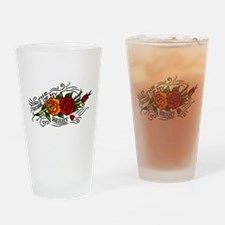 Vintage Rose Of My Heart Tattoo Art Drinking Glass