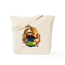 Pirate Ship Mermaid Tattoo Art Tote Bag