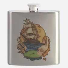 Pirate Ship Mermaid Tattoo Art Flask