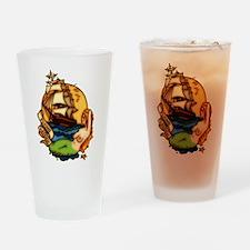 Pirate Ship Mermaid Tattoo Art Drinking Glass