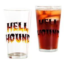 Retro Hell Hound Drinking Glass