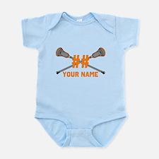 Personalized Crossed Lacrosse Sticks Orange Infant