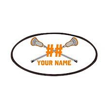 Personalized Crossed Lacrosse Sticks Orange Patche