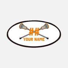 Personalized Crossed Lacrosse Sticks Orange Patche