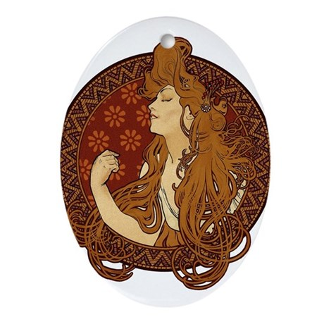 art nouveau long haired woman ornament oval by retroandvintage. Black Bedroom Furniture Sets. Home Design Ideas