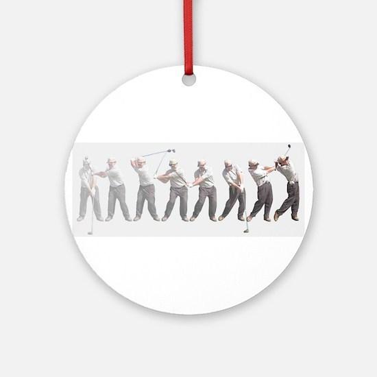golf swing.jpg Round Ornament
