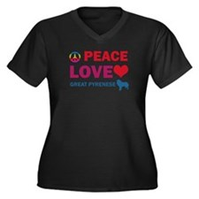 Peace Love Great Pyrenese Women's Plus Size V-Neck