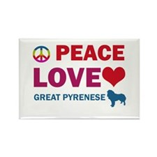 Peace Love Great Pyrenese Rectangle Magnet
