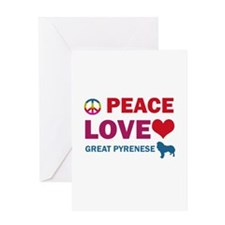 Peace Love Great Pyrenese Greeting Card
