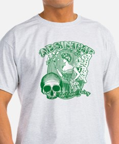 Absinthe Collage Lady With Skull T-Shirt
