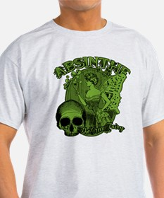 Absinthe Green Fairy Lady Collage T-Shirt
