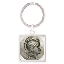 Ancient Coin showing Athena Square Keychain