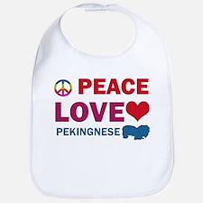 Peace Love Pekingnese Bib
