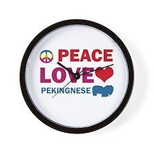 Peace Love Pekingnese Wall Clock