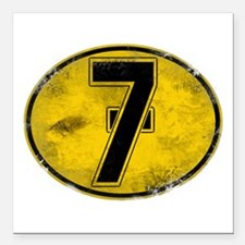"""Lucky 7 Square Car Magnet 3"""" x 3"""""""