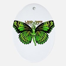 Green Fairy Wings Spread Ornament (Oval)