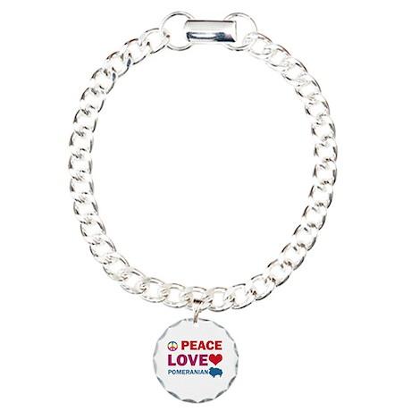 Peace Love Pomeranian Charm Bracelet, One Charm
