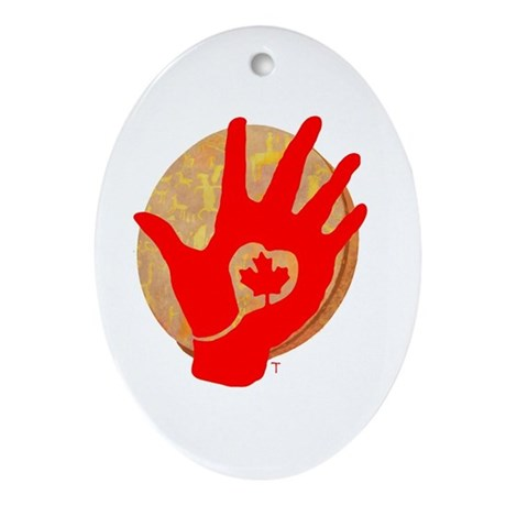 Idle No More - Red Hand and Drum Ornament (Oval)