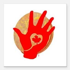 Idle No More - Red Hand and Drum Square Car Magnet