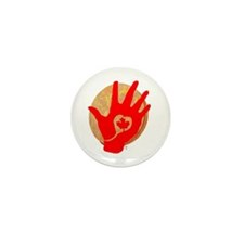 Idle No More - Red Hand and Drum Mini Button (10 p