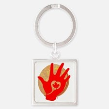 Idle No More - Red Hand and Drum Square Keychain