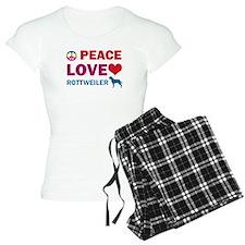 Peace Love Rottweiler Pajamas