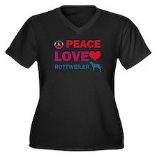Peace Love Rottweiler Women's Plus Size V-Neck Dar