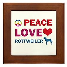 Peace Love Rottweiler Framed Tile