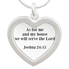 Joshua 24:15 Silver Heart Necklace