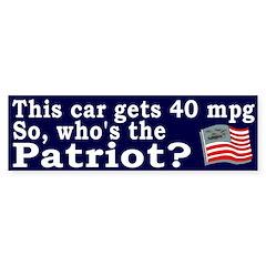Mileage Patriot Bumper Bumper Sticker