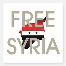 "Free Syria Square Car Magnet 3"" x 3"""