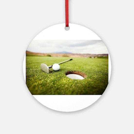 golf hole Round Ornament