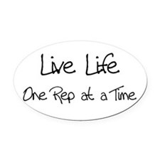 live life black.png Oval Car Magnet