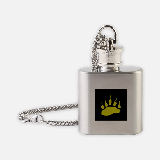 MOSAIC YELLOW BEAR PAW ON BLK Flask Necklace