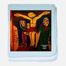 Crucifixion baby blanket