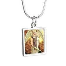 St. Angel michael Silver Square Necklace