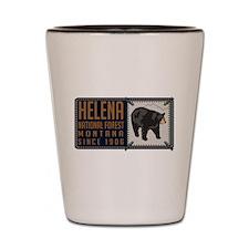 Helena National Black Bear Badge Shot Glass