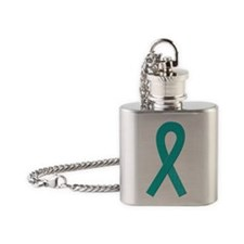Teal Ribbon Flask Necklace