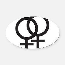 Gay Symbol - Female Oval Car Magnet