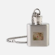 Victorian Fairies Pink Flowers Love Flask Necklace