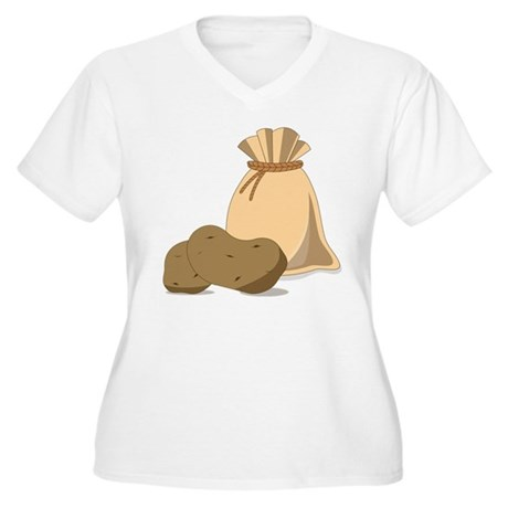 Potato Bag Women's Plus Size V-Neck T-Shirt