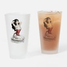 Woman In Red Corset Drinking Glass