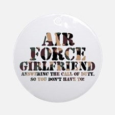 AF Girlfriend Answering Call Ornament (Round)